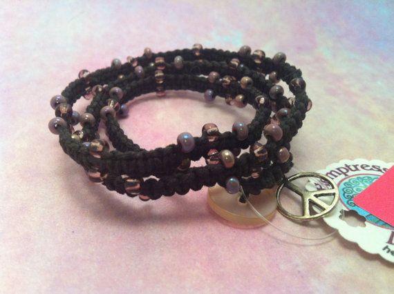 #Wrap #hemp #bracelet with #peace sign from hemptressdesigns.com - $9.00