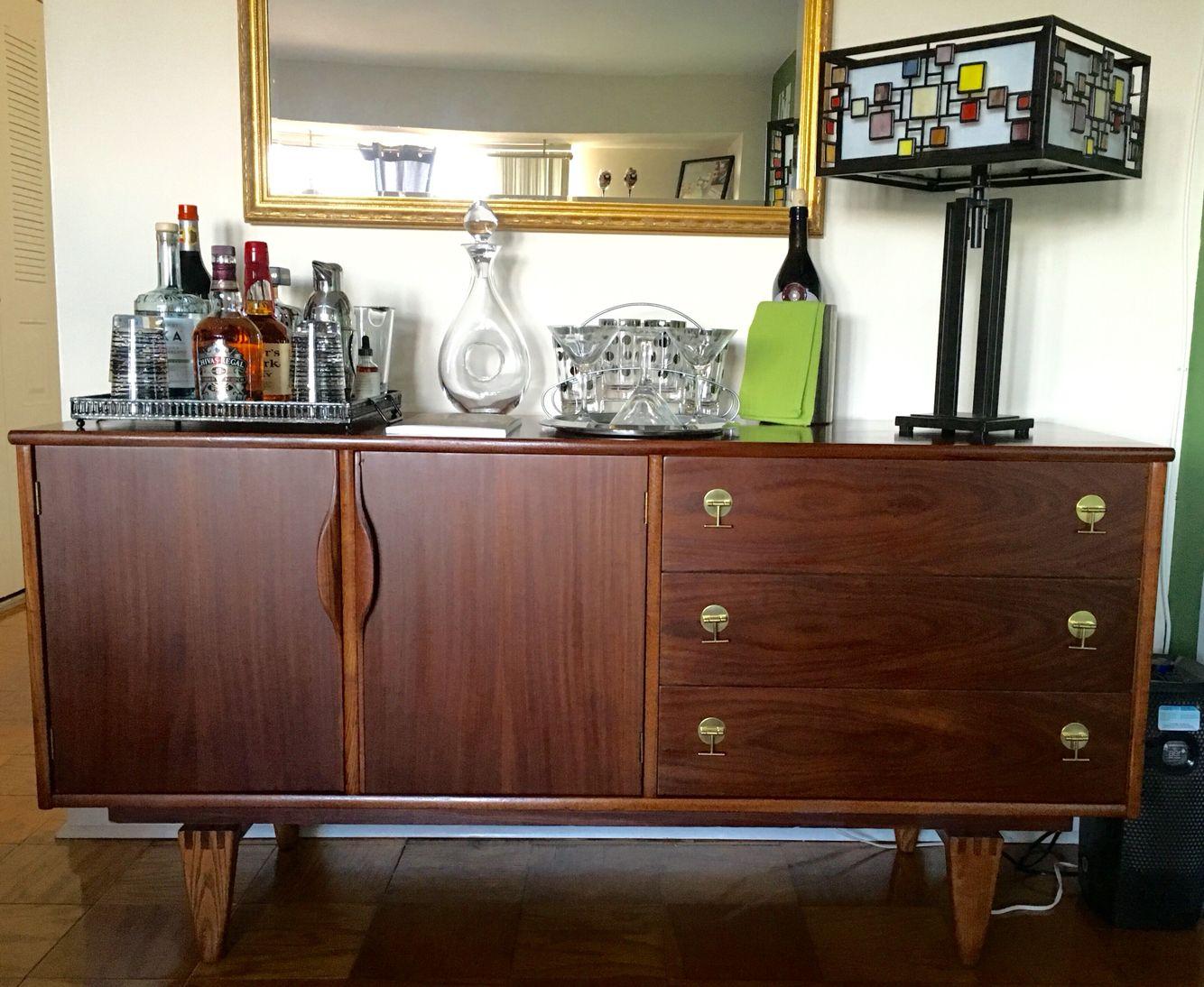Modern Dark Wood Credenza : Walnut long dresser bassett credenza mid century modern by