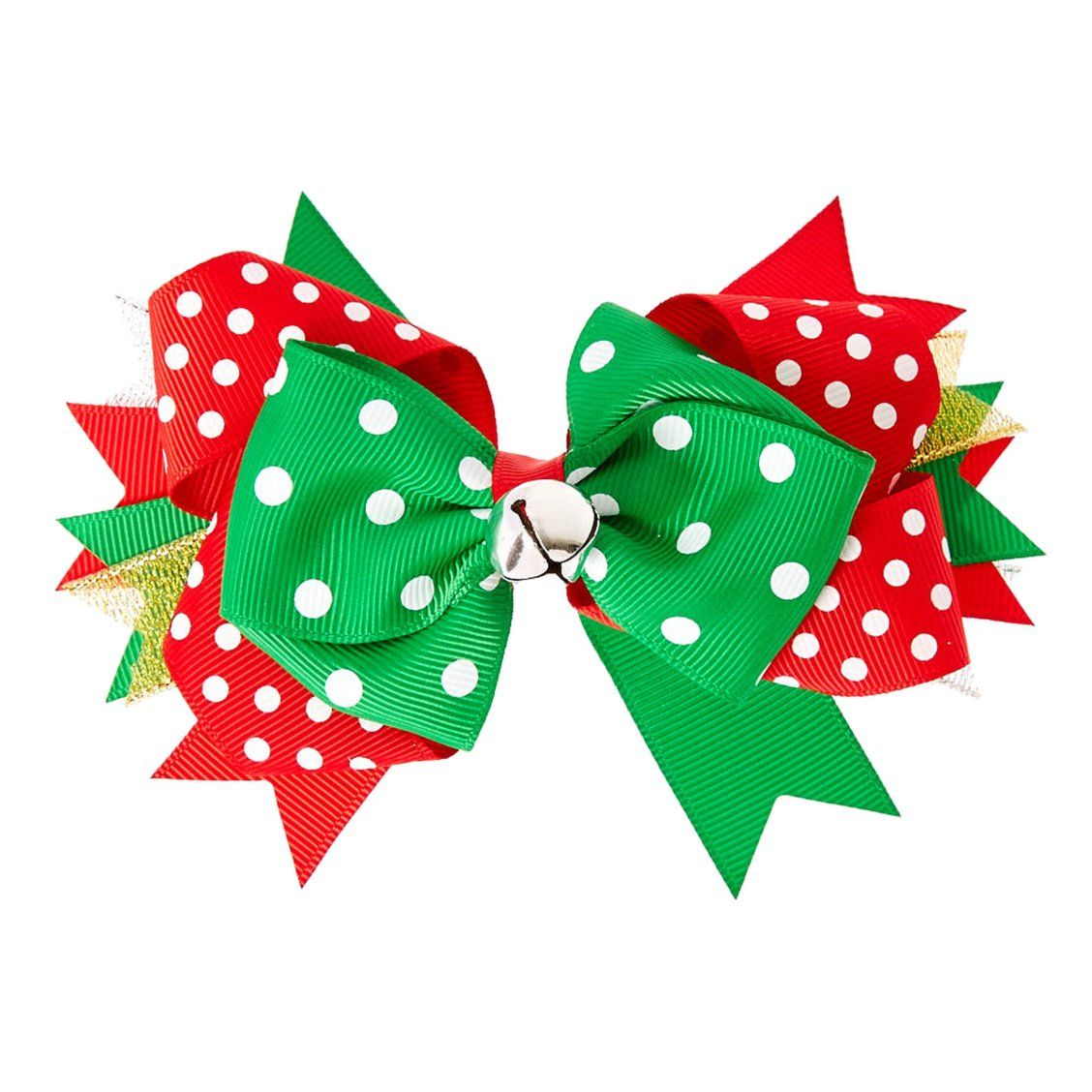 Polka Dot Christmas Hair Bow This Sassy Bow Will Add Christmas Cheer To Your Look Red White And Green Ribbons Christmas Hair Bows Hair Bows Christmas Hair