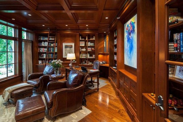30 Best Traditional Home Office Design Ideas | Bibliophile ...