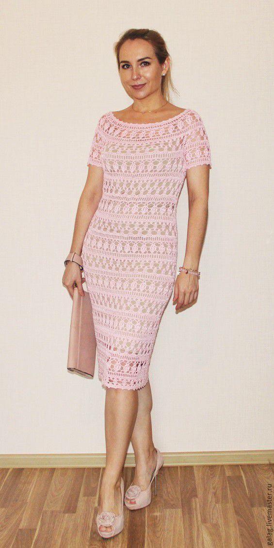 """Pattern crochet """"Zephyr"""". Купить Схема к платью """"Кружевной зефир"""" Galina Zarubina - бледно-розовый, описание вязания"""