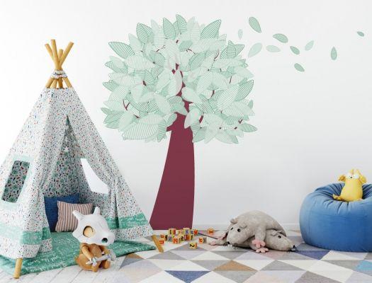 Wehender Kinderzimmer Wandtattoo Baum in grün Kinder