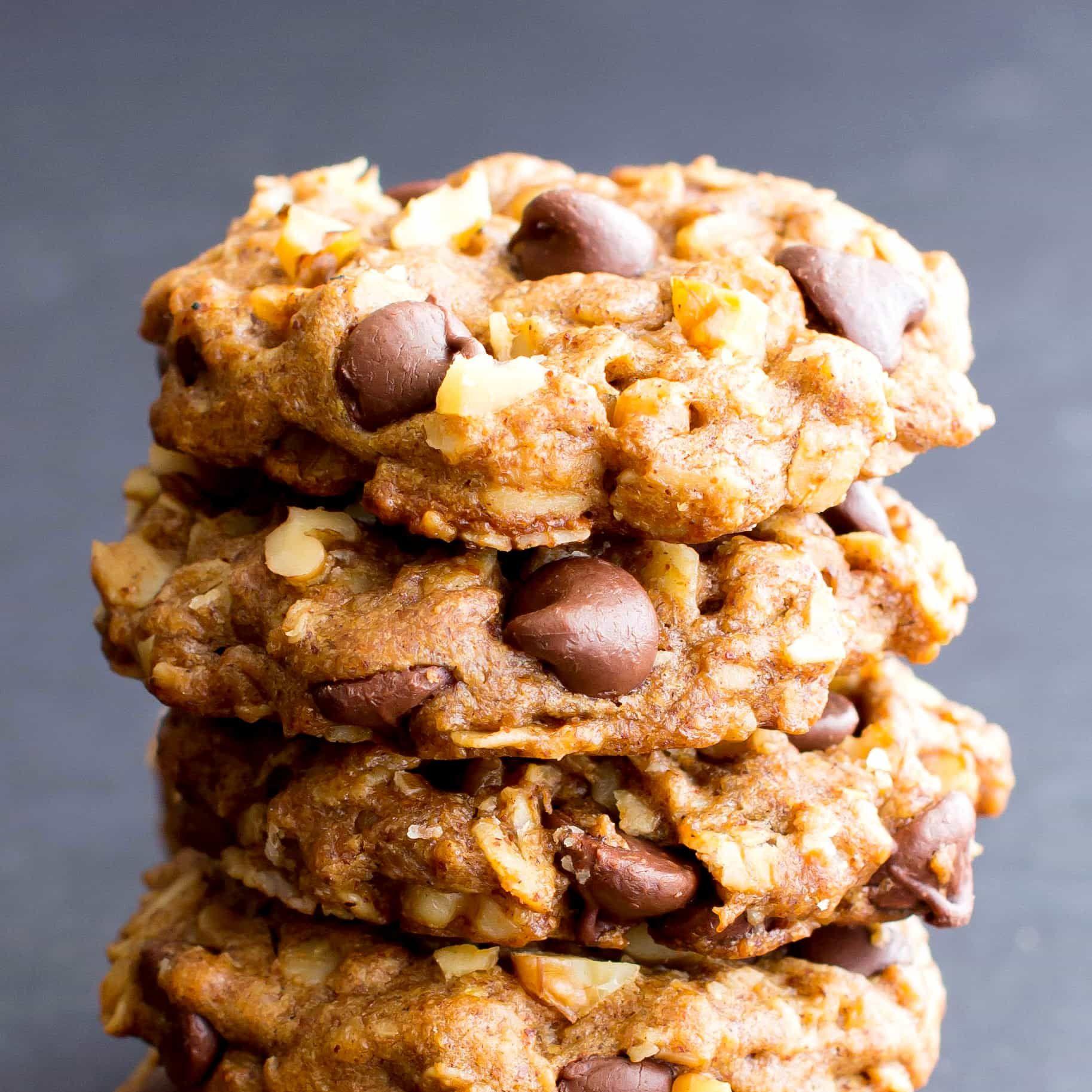 Vegan Almond Butter Chocolate Chip Walnut Oat Cookies V Gf Df