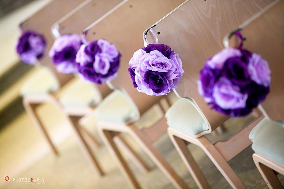 Purple Wedding Theme Church Aisle Decoration Purple Pomanders