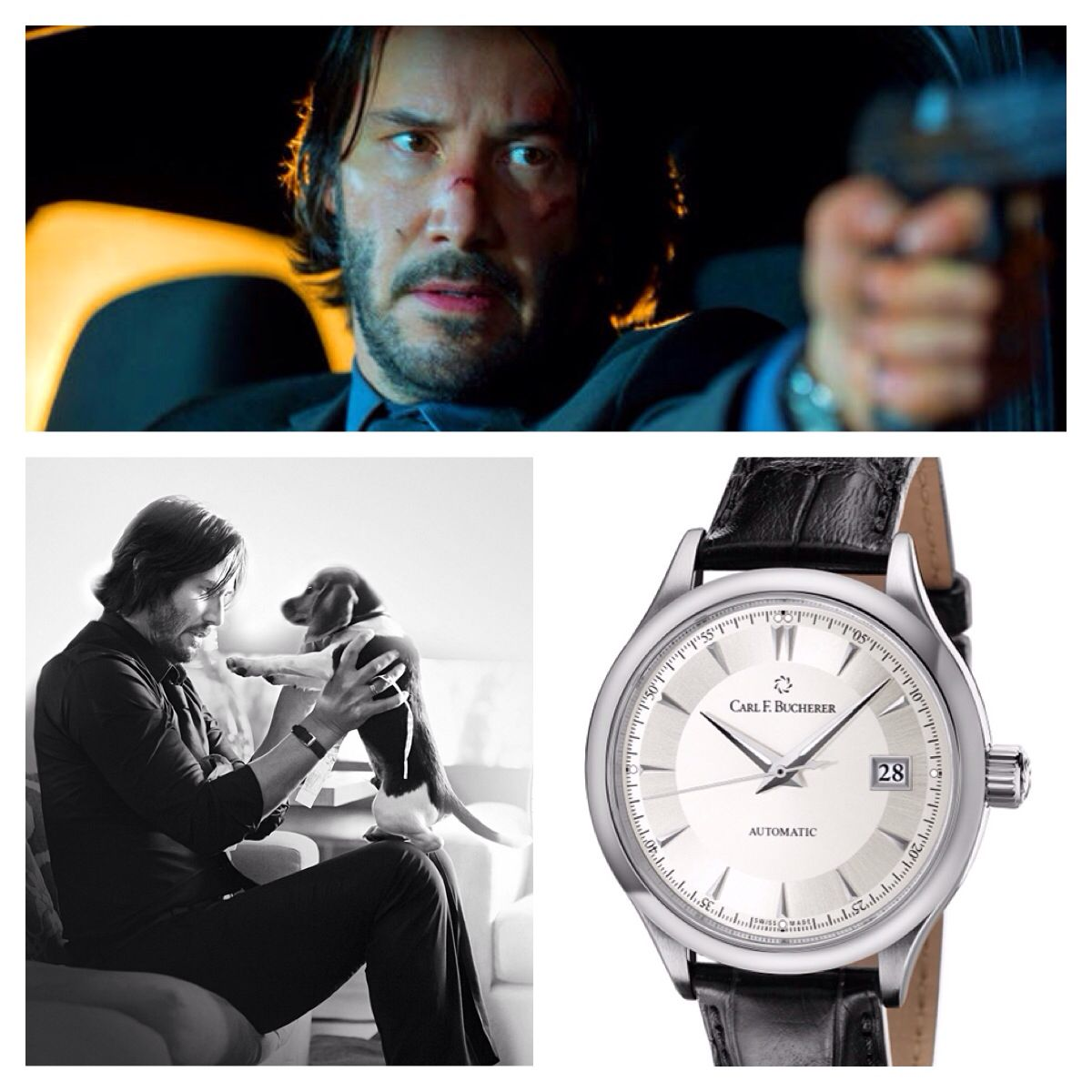 "Keanu Reeves wears a Carl F. Bucherer Manero Autodate in his role as ""John Wick"""
