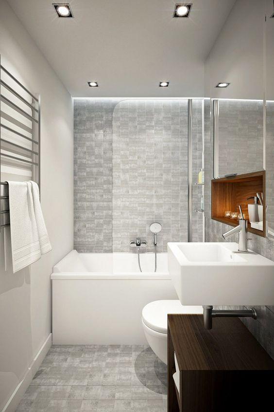 Decor Banheiros pequenos com banheira Decor Banheiros Banheiro pequeno, Decoraç u00e3o banheiro  -> Decoração Banheiro Pequeno Com Banheira