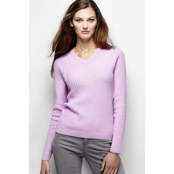 Lands' End Women's Cotton Cable V-neck Sweater ($49) ❤ liked on ...