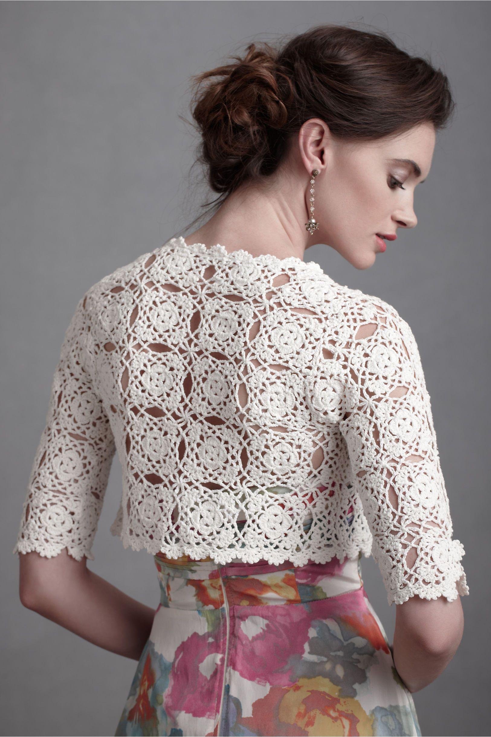 Bolero de Medallones Entrelazados | •♥•༺♥༻•♥•Crochet ...
