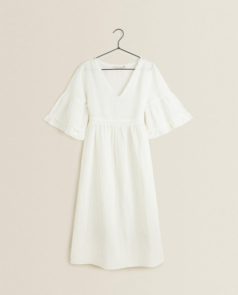 Ruffled Sleeve Nightdress In 2020 Night Gown Nightgowns For Women Ruffle Sleeve
