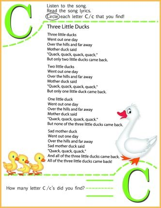 Circle The Letter C Worksheet and 3 Little Ducks Song for Kids