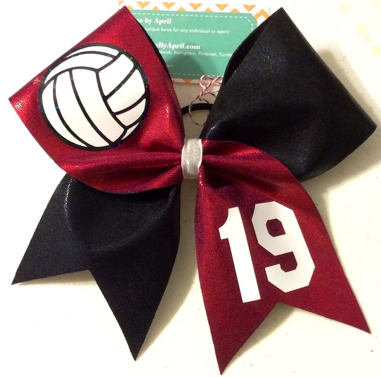 Volleyball Player Bow In Your Colors with Number  Volleyball