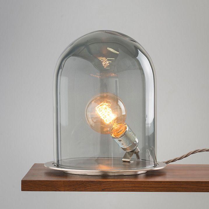 Ebb & Flow Glow in Dome Table Lamp, Smoke/ Steel