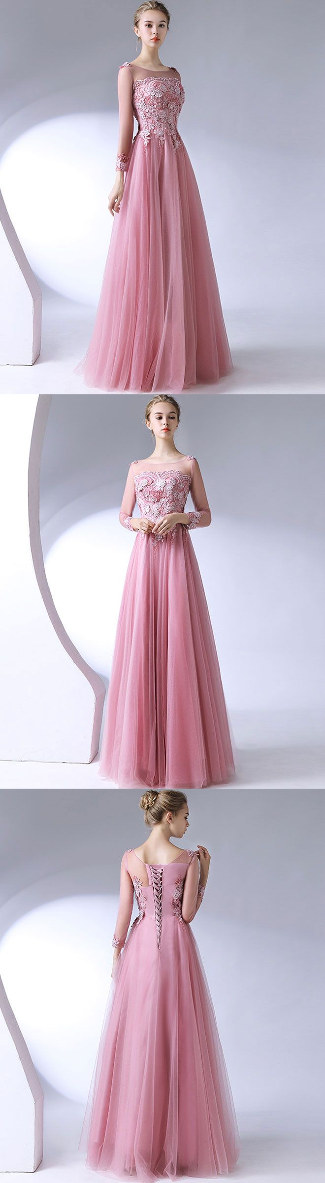 Pink lace tulle long prom dress long sleeve evening dress long