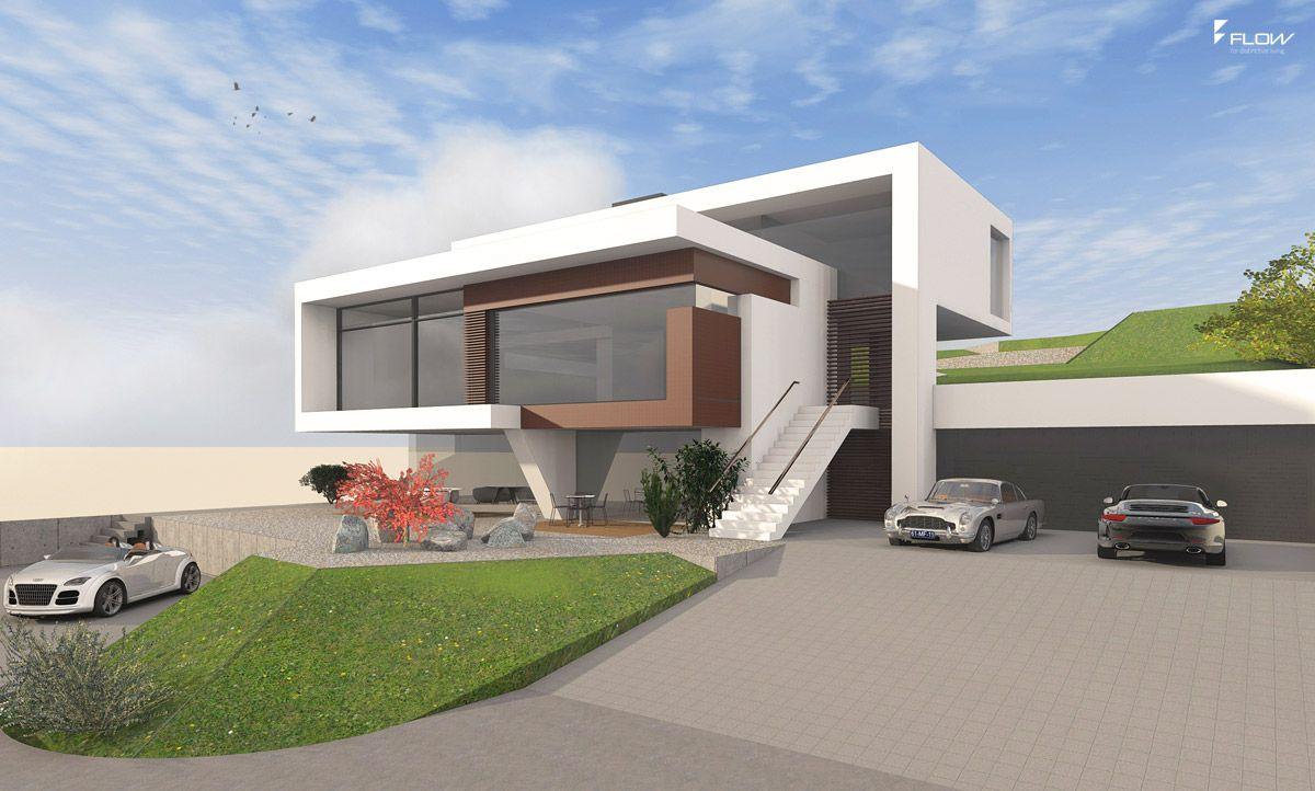Hangvilla in moderner #Architektur mit Panoramaaussicht aus ...