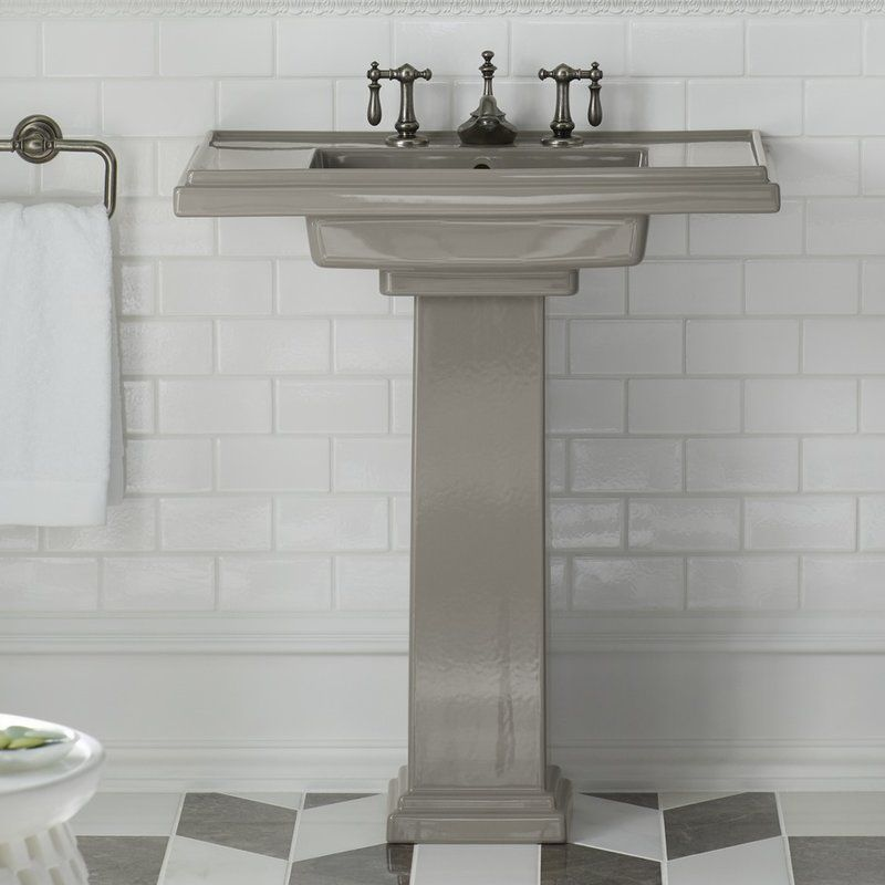 Photo of Tresham® Ceramic Pedestal Bathroom Sink with Overflow