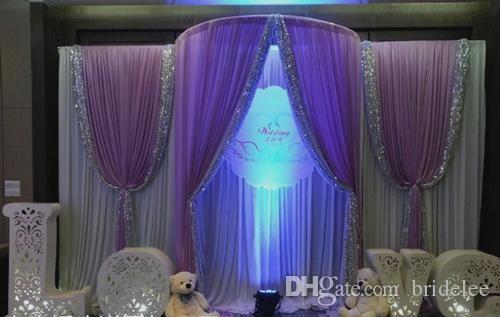 Cheap 3m*6m Sequins Beads Edge Design Fabric Satin Drape Curtain ...