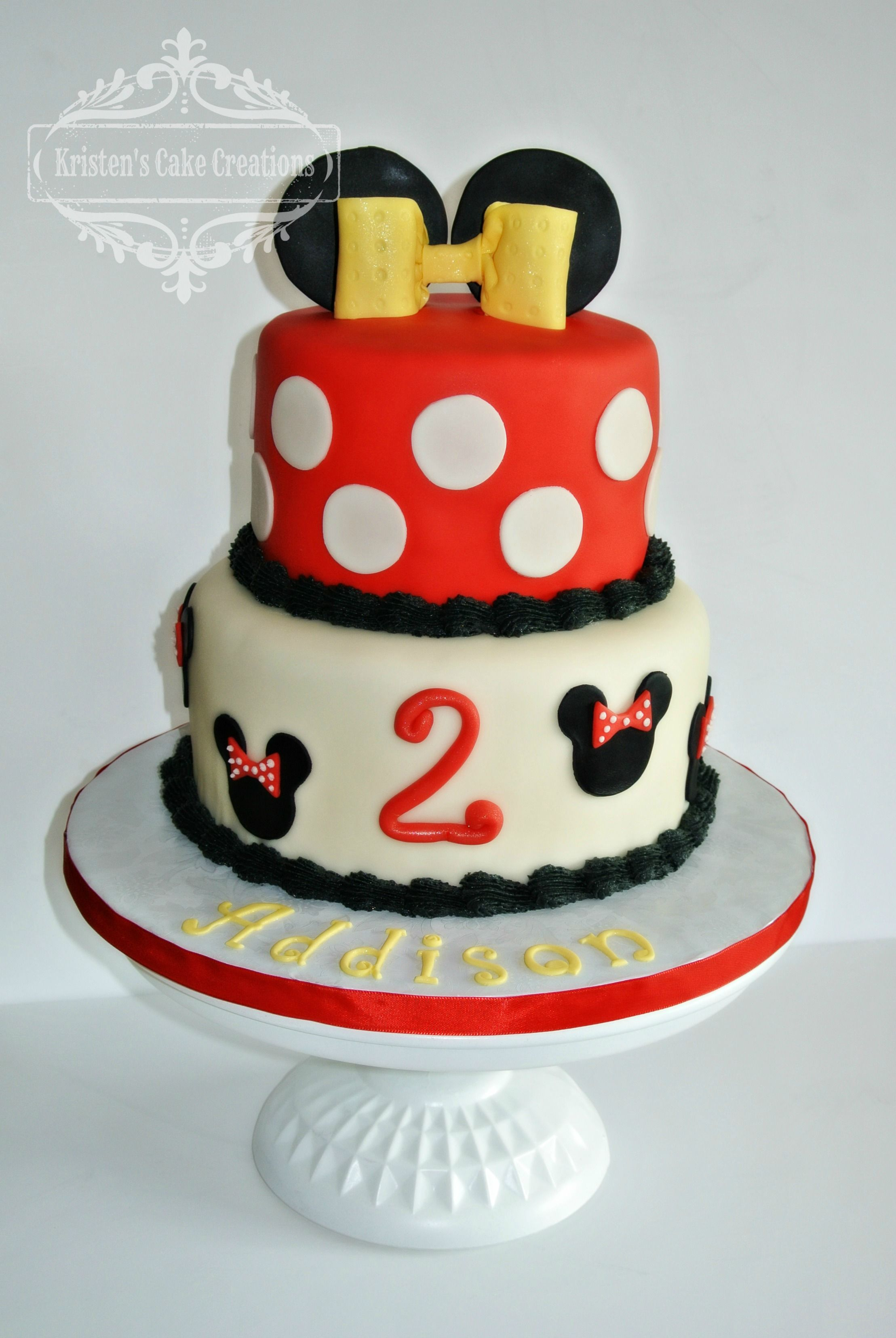 Minnie Mouse Cake Red Black White Yellow 2 Tier All Things