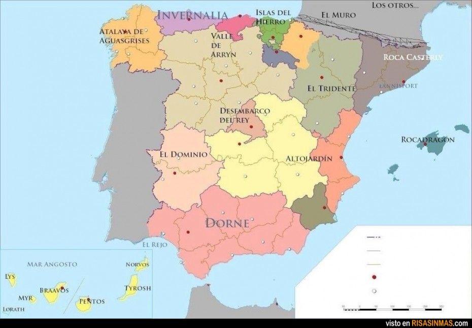 Juegos Mapa Politico De Espana.Espana Segun Juego De Tronos History Geography Map Games Spanish Activities