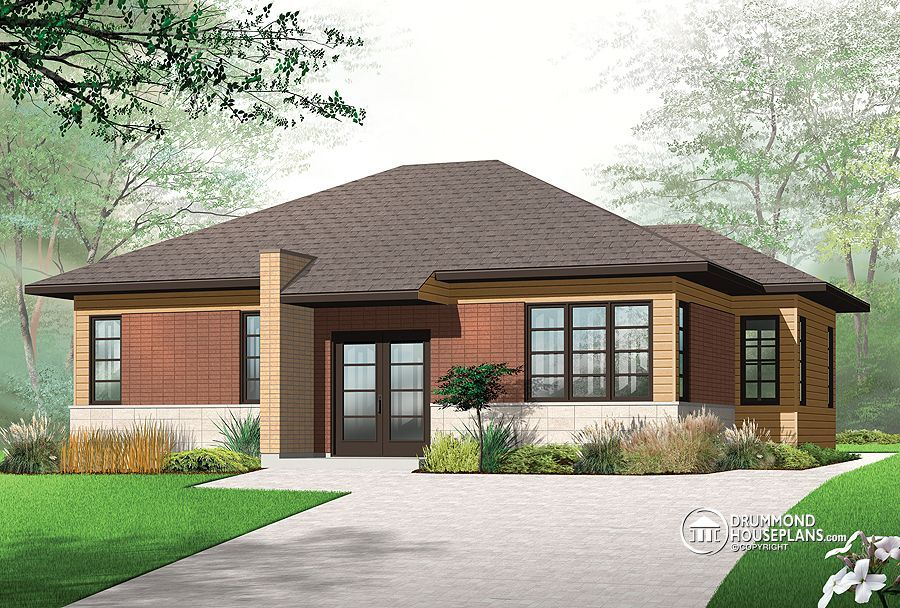 Eplans Contemporary Modern House Plan   Modern Open Living   1146 Square  Feet And 2 Bedrooms From Eplans   House Plan Code