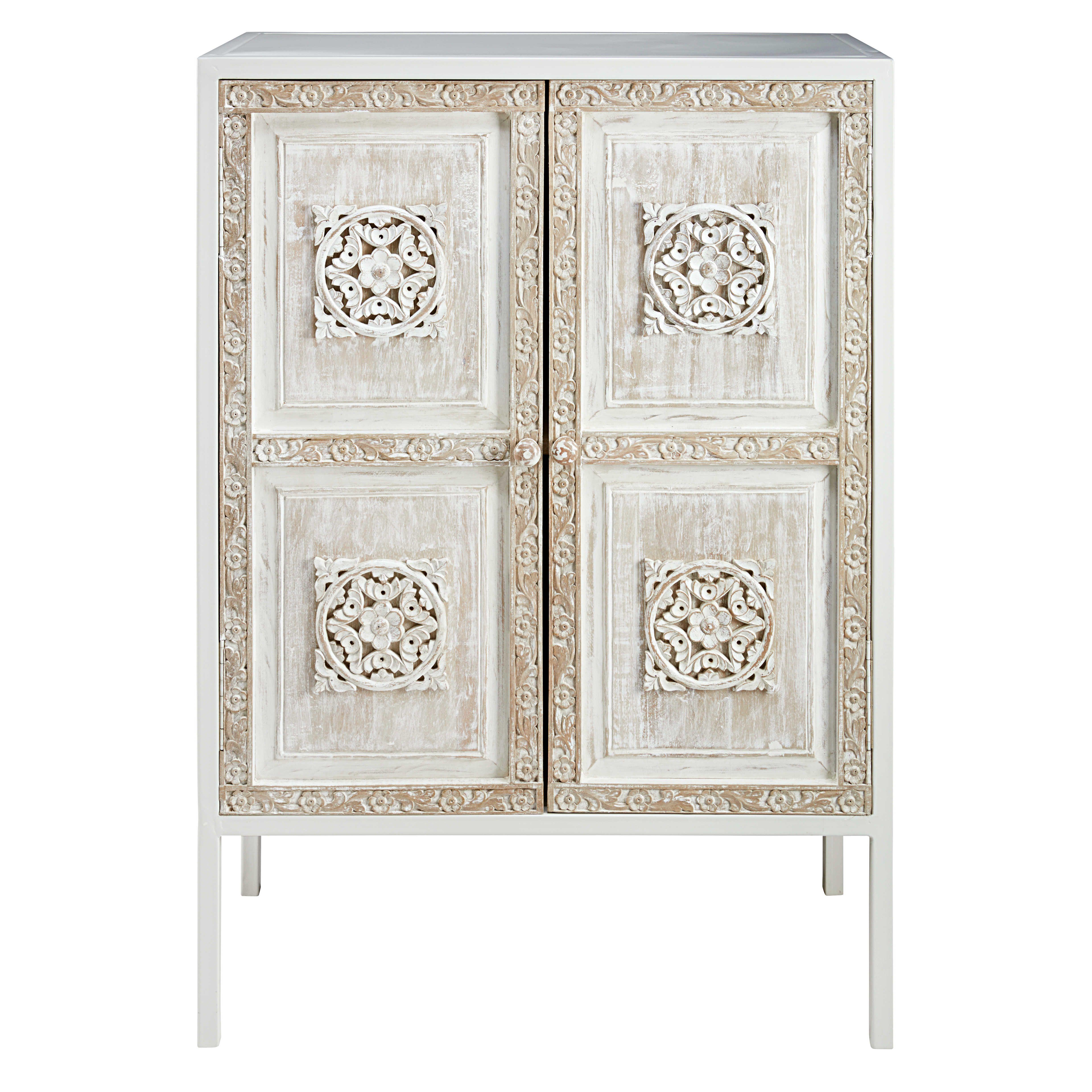 buffet haut en m tal blanc et manguier sculpt buffet haut meuble unique et espace de placards. Black Bedroom Furniture Sets. Home Design Ideas