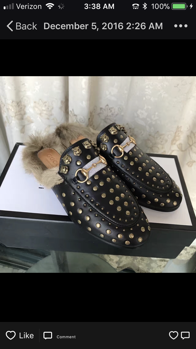 f9cd3974e3b Gucci Inspired Studded Princetown Fur Slide Mule – Celebrity Inspiracion