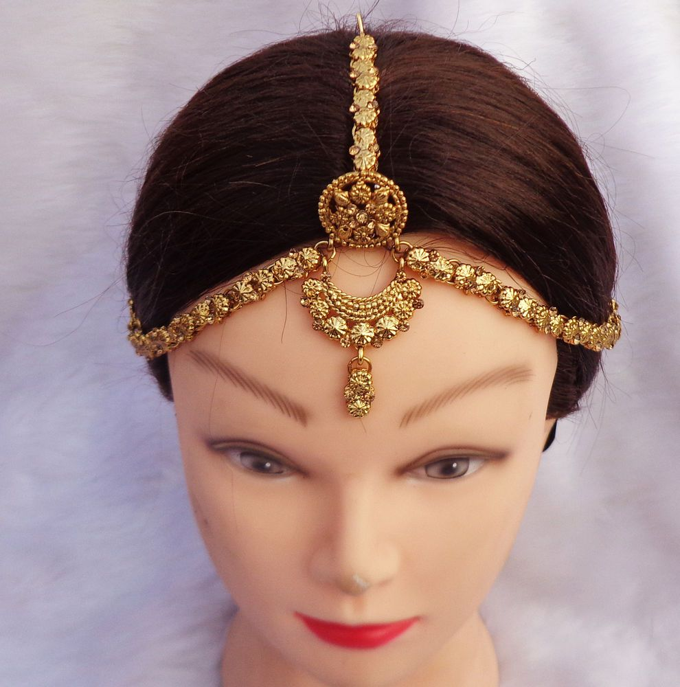 gold plated borla matha patti indian wedding bridal hair