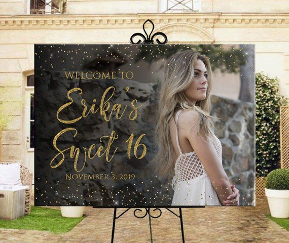 Photo welcome sign for sweet 16, Printable personalized sweet 16 or birthday photo welcome sign, birthday party photo welcome sign, DIGITAL