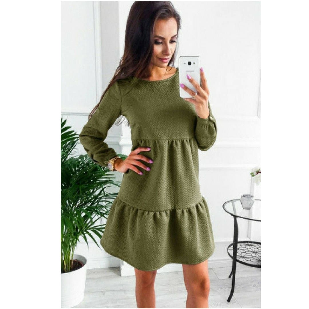 Green dress ideas  Long Sleeved Ladies Green Dress casual green ladies dress boho