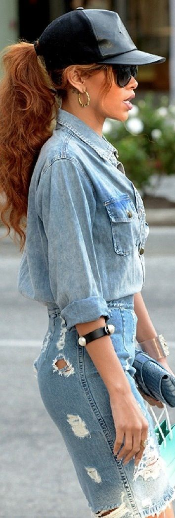 Rihanna, look completo en denim.