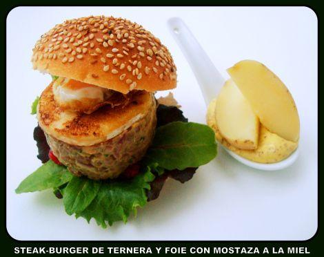 Steak burger de ternera y foie con mostaza a la miel (con video-receta)