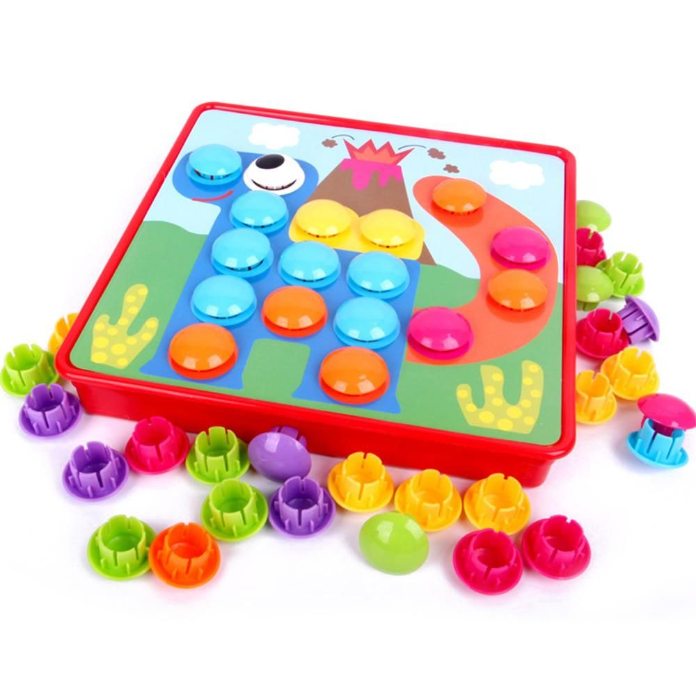 Puzzles & Games New Kids 3d Puzzles Toys Creative Mosaic Mushroom Nail Kit Picture Puzzle Button Art Educational Toys For Kids Children Gift Toys & Hobbies