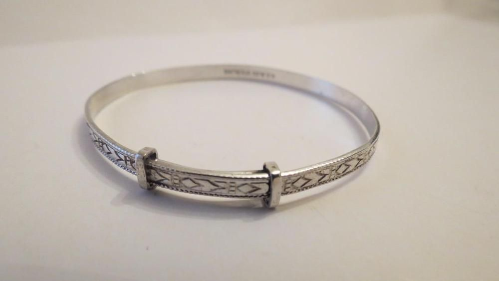 with ID Plate NEW Solid Sterling Silver 925 Expanding Baby Bangle