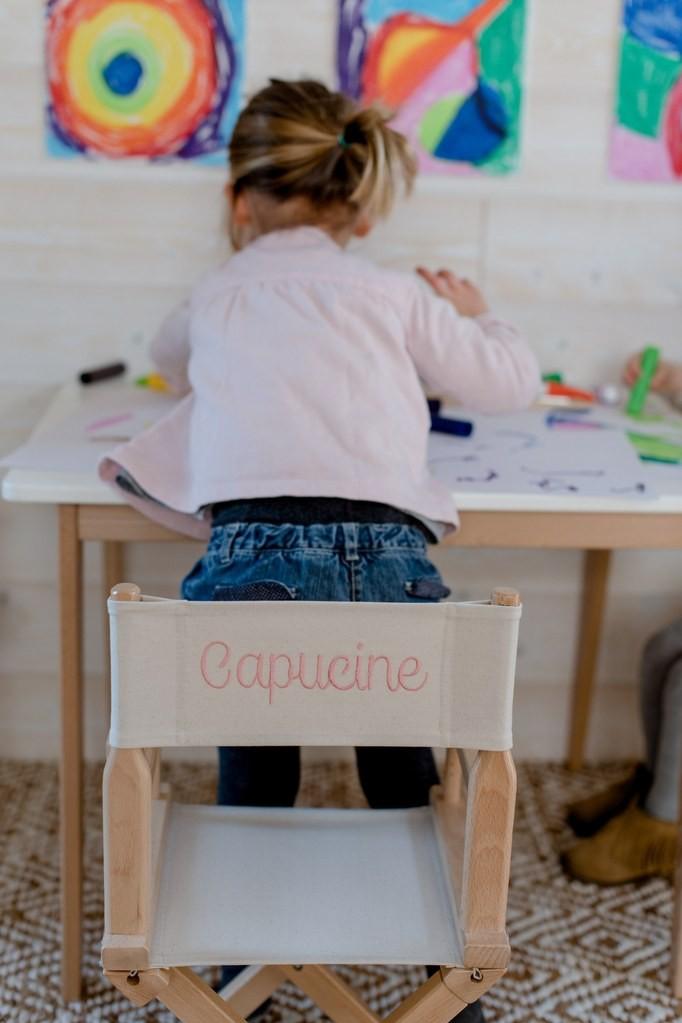 Chaise Metteur En Scene Enfant Personnalise Toile Unie Grege Broderie Personnalisee Chaise Et Enfant