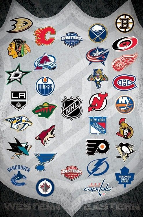 Details About Nhl Poster Shield 30 Team Logos 22x34 National