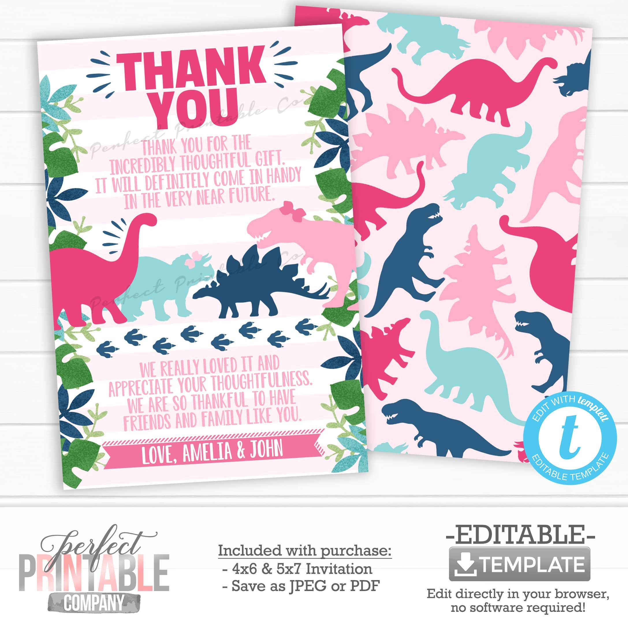 Girl Dinosaur Thank You Card Dinosaur Thank You Note Pink Etsy Print Thank You Cards Dinosaur Themed Birthday Party Thank You Cards
