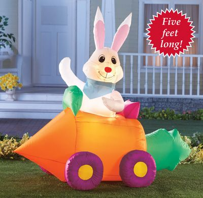 Easter Bunny Inflatable Light Up Yard Decoration Easter Family