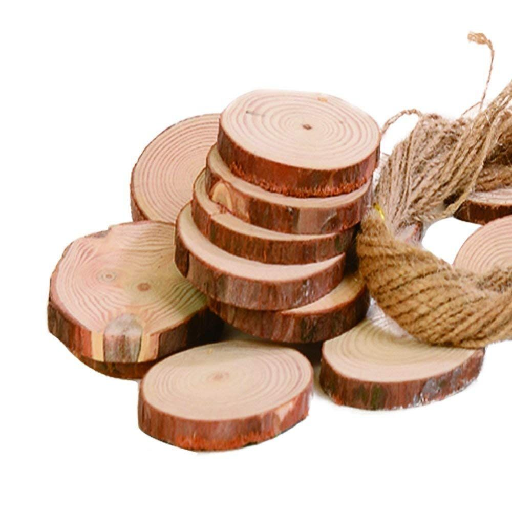 DIY Christmas Ornaments Natural Wood Slices 30-Piece 2.4-2.8 Inches Craft Wood Unfinished Pre-Drilled Wooden Circles with Rope Great for Arts and Crafts