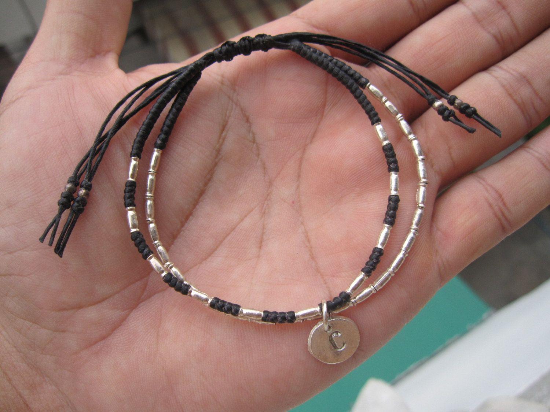2 mm,Hill Tribe Silver,Hand stamped bracelet,sterling bracelet,macrame bracelet,Macrame jewelry,beaded bracelet,personalize bracelet,Gifts by ALOR925 on Etsy