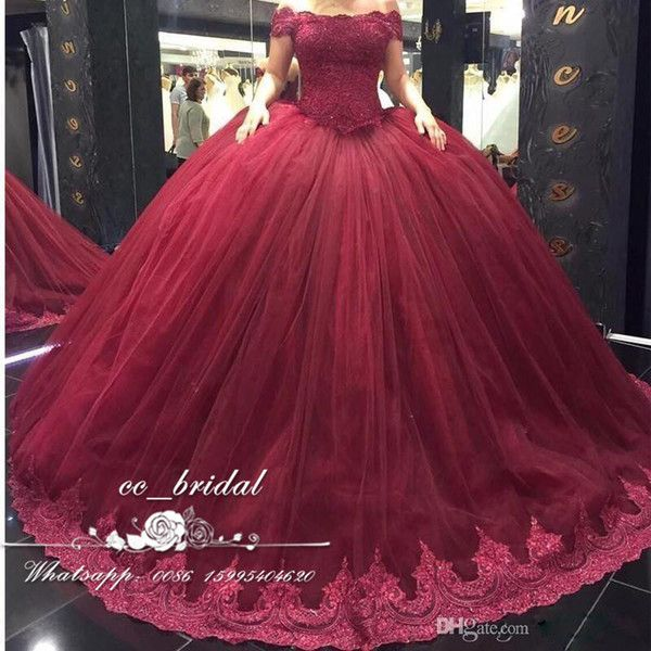 Cheap Burgundy Off The Shoulder Quinceanera Dresses 2017 With