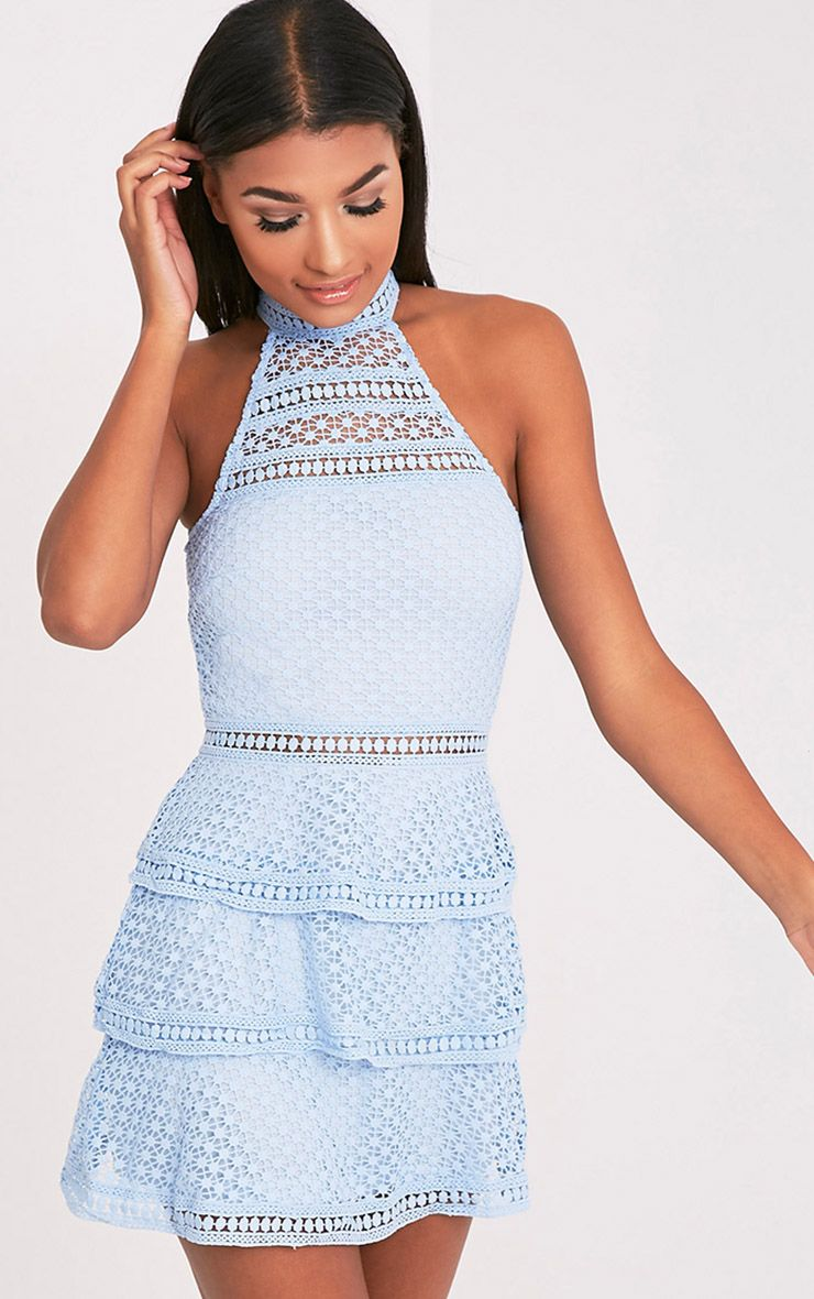 Raine Dusty Blue Lace Panel Tiered Bodycon Dress In 2019