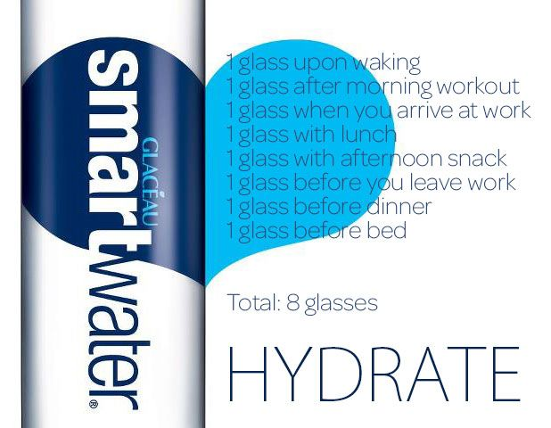 Hydrate with eight glasses of water per day. Here's how.