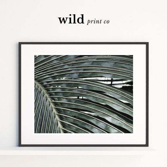 Palm leaf print green palm leaf wall art tropical by wildprintco