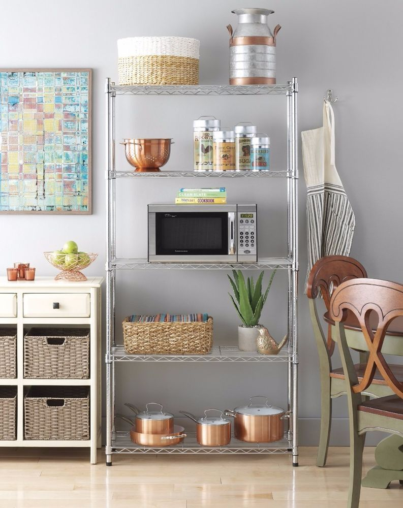 Kitchen Storage Unit 5 Tier Wire Shelving 72Inch Closet Kitchen Shelves Storage Unit