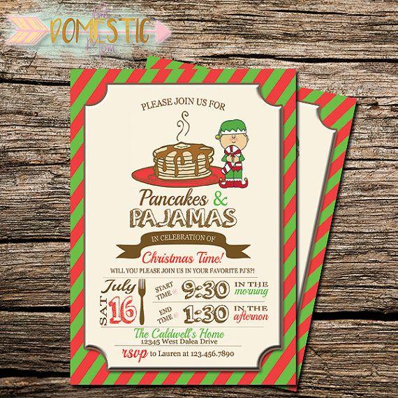 Christmas Invitation Pancakes and Pajamas Invitation