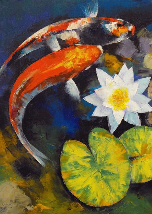 Michael creese on tumblr koi fish and water lily koi for Koi artwork on canvas