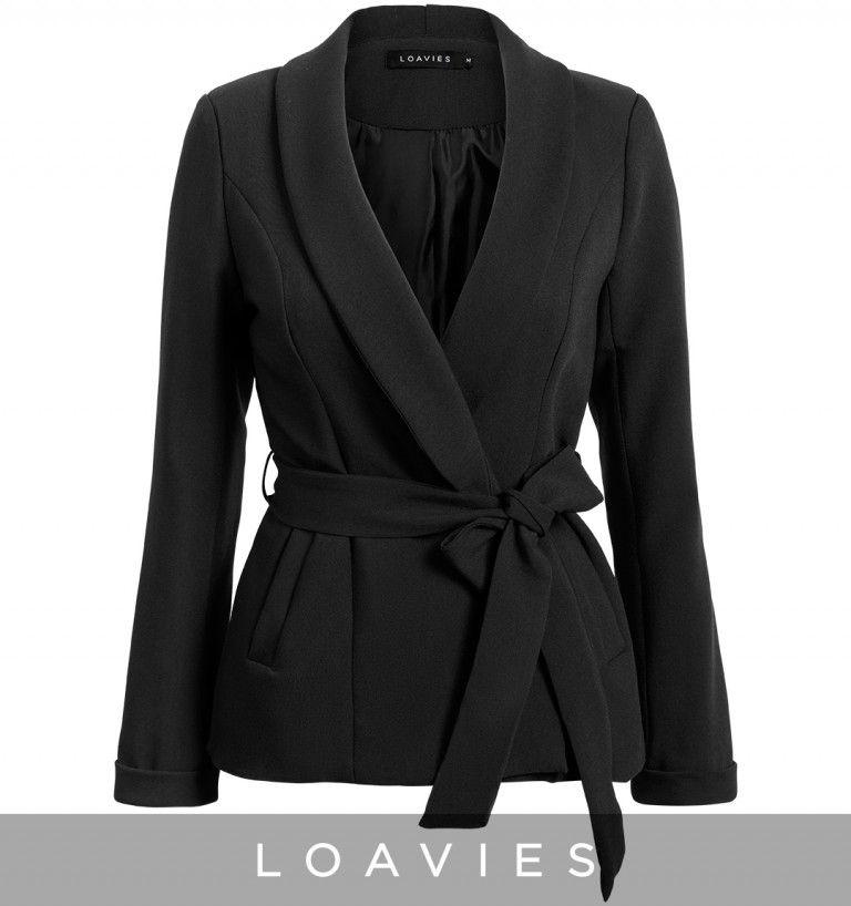 Classic black blazer with belt