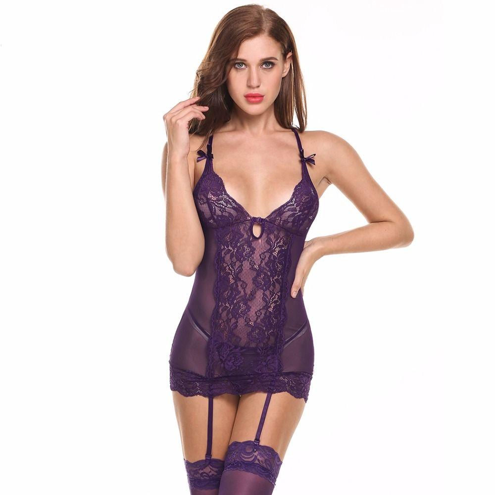 27dc2e81a Mulheres Lingerie de Renda transparente Lingerie Erótica Sexy Hot Babydoll  Sexo Vestido De Noite Pijamas Costume Intimate Apparel Garter Set