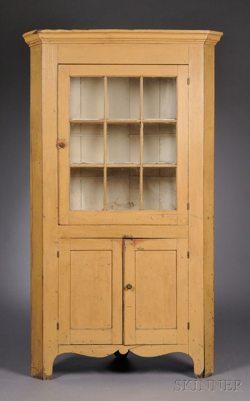 Federal Glazed Painted Corner Cupboard Corner Cupboard Cupboard Design Antique Cupboard
