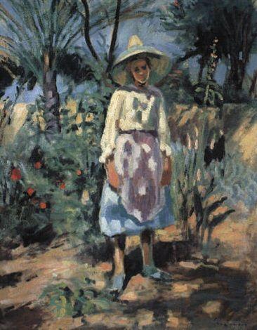 Charles Camoin - Jeune femme dans un jardin