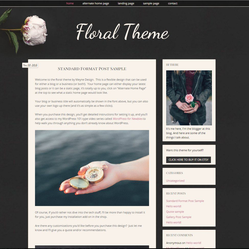Moody, responsive WordPress blog theme with a built in landing ...